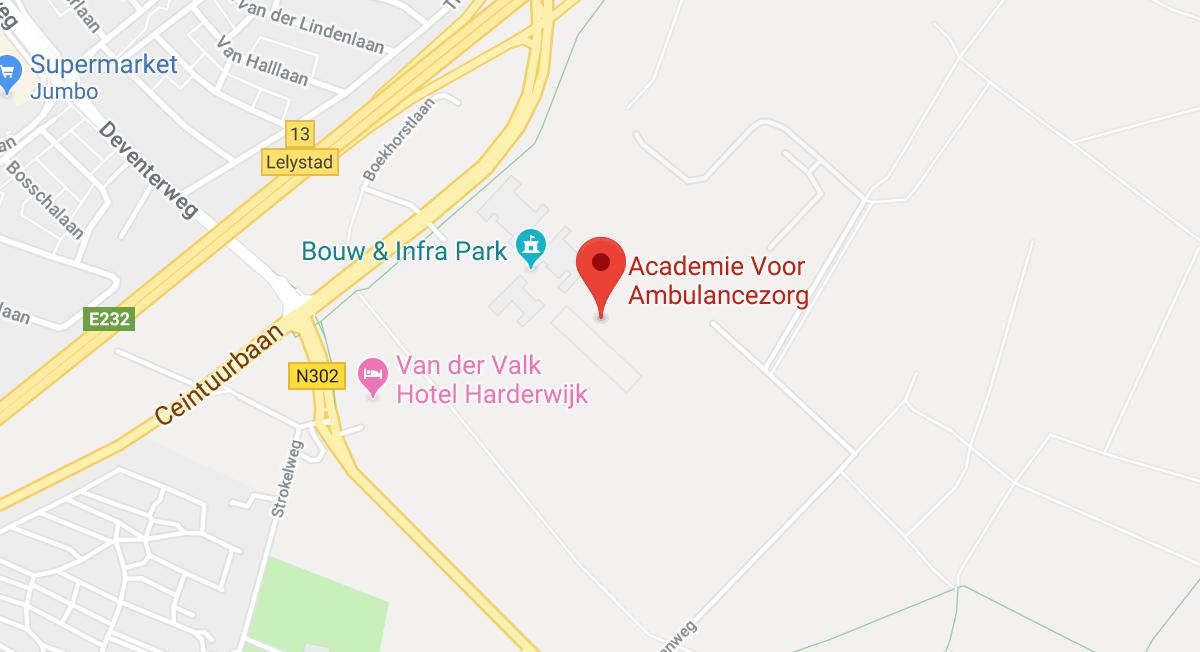 kaart locatie academie voor ambulancezorg kantoor